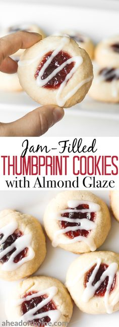 Soft, buttery, melt-in-your mouth jam-filled thumbprint cookies with almond glaze are the cutest, festive treat to make. | aheadofthyme.com via @aheadofthyme