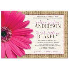 Rustic pink gerbera daisy burlap and lace wedding invitation.