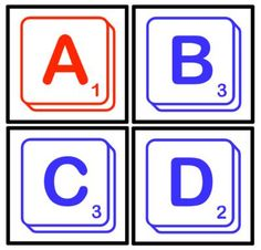 Boggle/Scrabble Game For Bulletin Board from Pioneer Teacher on TeachersNotebook.com -  (11 pages)  - Try playing Boggle with these Scrabble letters. Included are the letters of the alphabet - consonants in blue and vowels in red.