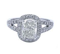 6.26 carat double shank Huge cushion halo diamond ring