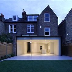 This is what you would call 'contrast'. Project by: LMBV Architects Image via… Orangerie Extension, Extension Veranda, House Extension Design, Extension Designs, Glass Extension, Rear Extension, House Design, Extension Ideas, Exterior Design