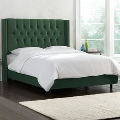 Diamond Tufted Nail Button Wingback Fabric Upholstered Bed in Jade by Skyline Furniture