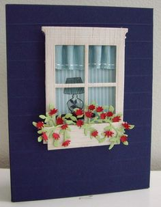red, white and blue card with a window box window card...luv the curtains!!