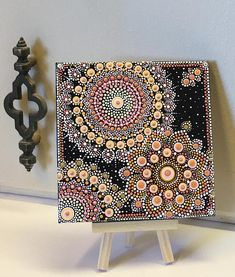 Mini Dot Art Painting 5X5 Canvas & Mini Easel Happy One Peach