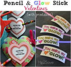 Glow Stick & Pencil Valentine Ideas (+ FreePrintables)