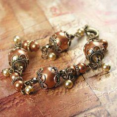 Copper Pearl Bracelet Swarovski Crystal Pearl Bracelet  Antique Gold Bracelet  Terra Rust Brown Bracelet