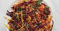 Carrot & Beet slaw with pistachios and raisins At Ava Gene's, chef Joshua McFadden always dresses his salads with the acidic components first so the produce can absorb some of those flavors before being coated with oil. Raisin Recipes, Slaw Recipes, Carrot Recipes, Roast Recipes, Cooking Recipes, Vegetarian Recipes, Rhubarb Recipes, Primal Recipes, Veggie Recipes