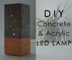 Concrete and Acrylic LED Lamp With a Wooden Base Tall Lamps, Bright Homes, Concrete Lamp, Room Lamp, Wooden Lamp, Unique Lamps, Led Lampe, Bedside Lamp, Lamp Bases