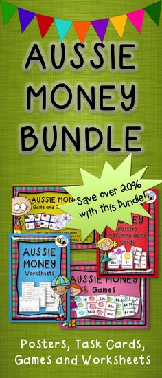 Australian Money Bundle - Posters, Task Cards, Games and Printables. 131 pages of goodies! Buy them in a bundle and you get one package free!