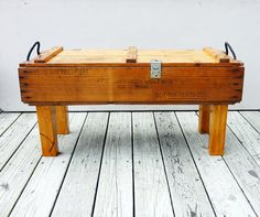 vintage 50s AMMUNITION box  bench/table or We were thinking about using our ammo box as a shelf, adding shelves inside for shot glass display, or other man cave things
