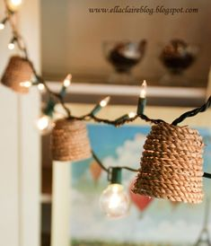 DIY Bedroom Decor Ideas - Jute Twinkle Light Shade - Easy Room Decor Projects for The Home - Cheap Farmhouse Crafts, Wall Art Idea, Bed and Bedding, Furniture Diy Crafts For Bedroom, Diy Dorm Decor, Home Decor Bedroom, Bedroom Furniture, 60s Bedroom, Bedroom Ideas, Bedroom Brown, Teen Decor, Pretty Bedroom