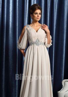 Chiffon V-neck Ruched V-back 1/2 Sleeves Sweep A-line Mother Of The Bride Dresses
