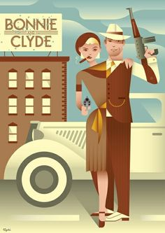 Bonnie and Clyde minimalist design poster