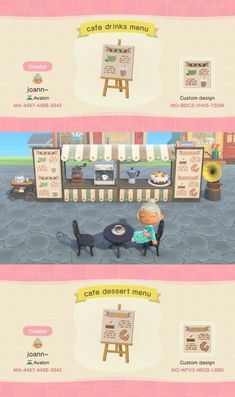 animal crossing a little outdoor cafe setup i put together! Animal Crossing 3ds, Animal Crossing Coffee, Animal Crossing Qr Codes Clothes, Flamingo Illustration, Simple Illustration, Animal Games, My Animal, Drawing Lessons, Ac New Leaf
