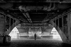Pont Wilson - Standing in the darkness under Pont Wilson on a foggy, autumn day in Lyon.