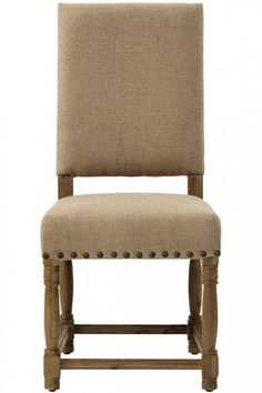 Burlap cane chair with nailhead trim. Home Depot has same chair less expensive + free shipping.