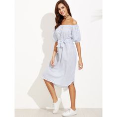 SheIn(sheinside) Vertical Striped Bardot Bow Tie Dress (17 CHF) ❤ liked on Polyvore featuring dresses, blue, vertical stripe dress, off shoulder dress, white off shoulder dress, white cotton dress and white off the shoulder dress