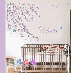 Wall Decals – baby girl flower decal Nursery wall decal birds – a unique product by cuma-design on DaWanda
