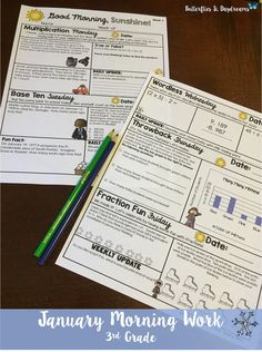 January Math Morning Work for 3rd Grade {Good Morning, Sunshine!}  Multiplication Monday, Base Ten Tuesday, Wordless Wednesday, Fraction Fun Friday