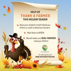 "Thank a Farmer - The Foundation is doing a fun ""Thank a Farmer"" campaign this harvest season to spur conversations about agriculture in classrooms.  http://www.agfoundation.org/projects/thank-a-farmer"