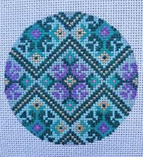 Beautiful Hand Painted HP Round Ornament Needlepoint Canvas 18 mesh Geometric