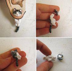 Custom Cat earring Faux gauge with portrait of par FlowerLandShop