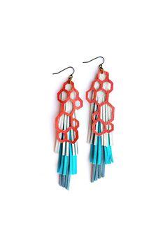 Etsy bling ...  http://www.etsy.com/listing/100666743/geometric-leather-earrings-pink-hexagons