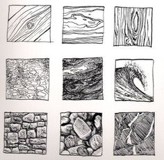 Ink Drawing Kinnon Elliott Illustration: Pen and Ink Texture Thumbnails Texture Drawing, Texture Sketch, Pencil Texture, Art Worksheets, Ink Drawings, Art Graphique, Principles Of Art, Drawing Techniques, Rendering Techniques