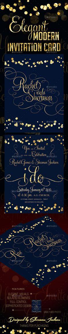 Modern Wedding Invitation Bundle (4in1) Graphic design templates - invitation card kolkata
