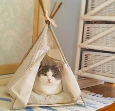 Handmade Cat bed teepee tent: Grey hearts with by LovelyLunaCrafts