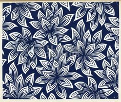 Blue and white pattern of flowers with pointed oval leaves stock imagery by Gillham Studios only at Gillham Studios