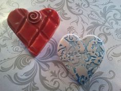 Ceramic Heart Brooches  $20 each