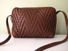 Woven leather purse just about goes with any outfit.