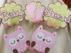 Baby Shower Pink Owl Table Decorations 5 -Piece Set (Matches Girl Pink Owl Set) on Etsy, $12.75