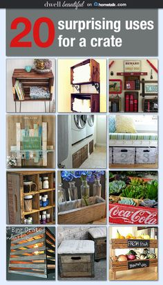 20 incredibly clever uses for new and old crates Idea Box by Erica Sooter - Upcycled Crafts Pallet Crates, Old Crates, Wooden Crates, Wine Crates, Crate Crafts, Upcycled Crafts, Handmade Crafts, Furniture Makeover, Diy Furniture