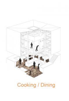 cooking and dining diagram, Nest We Grow | Hokkaido, Japan | College of Environmental design UC Berkeley + Kengo Kuma & Associates | 2014