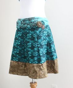Blue and brown summer skirt / Recycled skirt / Upcycled Skirt / Beach skirt / Size S / Skirt into dress / Upcycled clothing by Saidonia Eco
