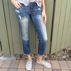 Free people boyfriend jeans! Free People destroyed boyfriend jeans! Size 24. Fit a little loose for size 24 and more like 25. Waist measurement is 15 inches flat. Gently worn once. Retails for $78. BUNDLE and SAVE! Free People Jeans Boyfriend