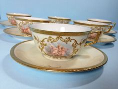 Limoges AK CD Cupid Tea Cup Saucer Set - Cherubs and Gold trim