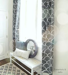 Paint your curtains to match your room for a look that's put-together and fresh. Click through for 6 tips on painting curtains with stencils via @tatertotsjello on MyColortopia.com