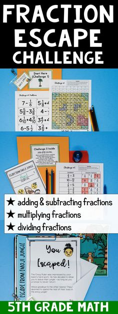 These escape challenges are the best for reviewing fractions at the end of the unit or the end of the year! This 5th grade fraction classroom escape covers:  adding & subtracting fractions multiplying fractions dividing fractions all operations include mixed numbers like & unlike denominators are used #5thgradefractions Teaching 5th Grade, Fifth Grade Math, 5th Grade Classroom, Teaching Math, Teaching Ideas, Future Classroom, Classroom Ideas, Teaching Fractions, Sixth Grade