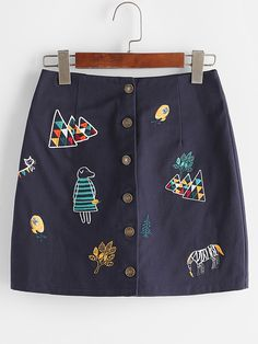 Shop Navy Cartoon Embroidered Single Breasted Skirt online. SheIn offers Navy Cartoon Embroidered Single Breasted Skirt & more to fit your fashionable needs.