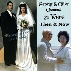"71 years ago today, George Virl Osmond (1917-2007) and Olive May Davis (1925-2004) were married on 1 December 1944 in Salt Lake City, Utah. They were the proud parents of nine children, Virl, Tom, Alan, Wayne, Merrill, Jay, Donny, Marie & Jimmy. On this their Wedding Anniversary, George & Olive are watching over their posterity 'from on high' along with all of their true and faithful fans that all called them, ""Mother & Father"". www.osmondfamily.com"
