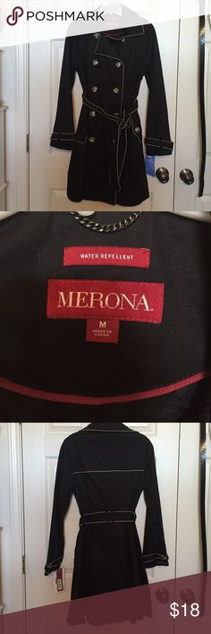 Merona trench coat. NWT. Water repellant trench. Merona trench coat. NWT. Water repellant trench. Brand new. Great for day or night!! merona Jackets & Coats Trench Coats