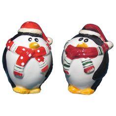 Ceramic Penguin Salt & Pepper Shaker Set - Christmas Elves