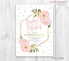 Blush floral Baby Shower Invitation floral Baby Shower