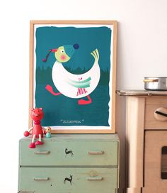 The duck by Lisbet Krøll Toy Chest, Storage Chest, Kids Rugs, Candy, Toys, Illustration, Artist, Wall, Home Decor