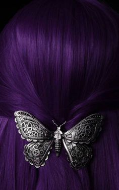 True purple hair with clockwork butterfly barrette.