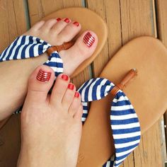 The perfect Pedi - Cardinal Lacquer with Metallic Silver Stripe   amywooten.Jamberry.com