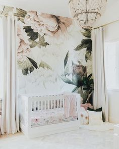 Large Blush Floral Wall Mural | Little Crown Interiors